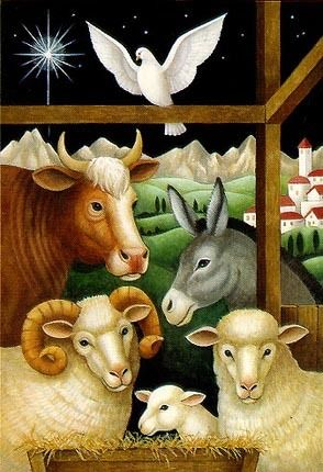 animals in the manger